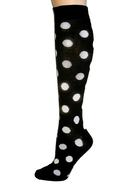 Polka Dot Knee Socks - Black - One Size Fits All