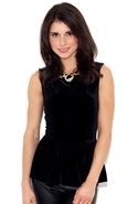 Peplum Flirt Velvet Top - Black - Medium
