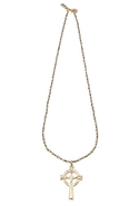 Olesia Cross Necklace - Brass