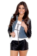 Hoodie Jean Jacket with Leather Sleeves - Black -