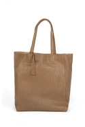 Ezra Tumbled Leather Tote in Taupe - Taupe