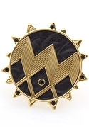 14Kt Y/G Plated Zig Zag Starburst Ring with Black