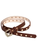 Skinny Mini Studded Belt in Brown One Size Fits Mo