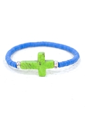 Vinyl Trade Bead Cross Bracelet in Blue