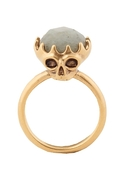 Double Sided Skull Ring with Labradorite - Gold -