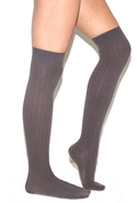 Cable Knit Over The Knee Socks in Gray One Size Fi