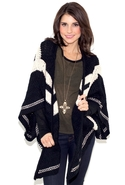 Follow the Stripes Poncho Cardigan - Black/Beige -