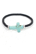 Vinyl Trade Bead Cross Bracelet in Black
