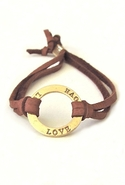 Bijouterie Leather Love Bracelet - Tan/Gold