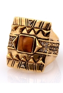 Cushion Cocktail Ring with Tiger's Eye - Gold - 6