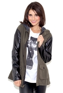 Leather Sleeve Army Jacket - Army - Petite/Small