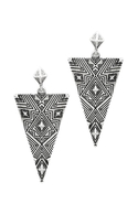 Engraved Triangle Earrings - Silver