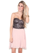 Sequin Bustier Dress - Pink - Large
