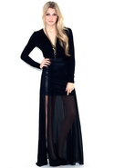 Sheer Maxi Skirt - Black - Large