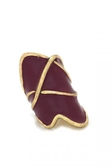 Gold Thread Enameled Ring Burgundy 6