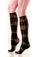Plaid Textured Trouser Sock - Brown - One Size Fit