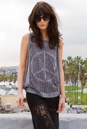 Effie Peace Beads Muscle Tank - Gray - X-small/Sma