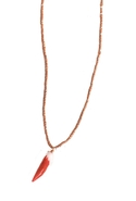 Tucson Tooth Necklace in Coral - Coral