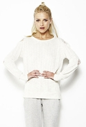 LnA Lace Cutout Sweater - Cream - Small
