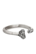 House of Harlow          Bone Ring with Black Diamond Pave in Silver 6