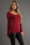 Scoop Neck Hi-Low Top in Port