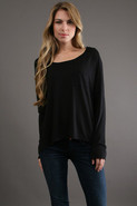 Long Sleeve 1 Pocket Tee in Black