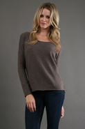 Open Neck Long Sleeve Cashmere in Storm