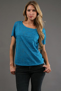 Burnout Pocket Tee in Teal