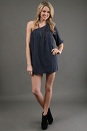 One Shoulder Love Dress in Navy/Grey