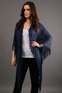 Fringe Shawl in Indigo Wash