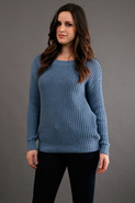 Boat Neck Stripe Pullover in Denim Blue