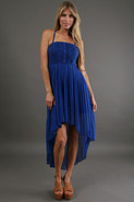 Cobalt Caboose Pleated High-Low Dress