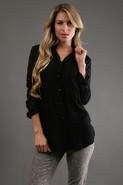 Solid Button Down Long Sleeve in Black