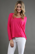 Long Sleeve Light Jersey Tee in Hot Fuschia