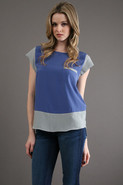 Color Blocked Top in Blue/ Dusty Green