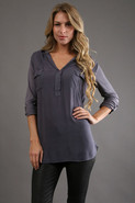 Long Sleeve Collar Top in Shadow