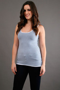 Cotton Stripe Layering Tank in White/Denim