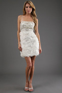 Embellished Short Dress in Ivory