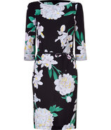 Black/White Orchid Print Silk Dress