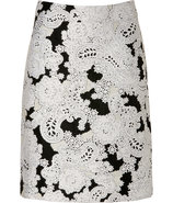 Black/White Jacquard Pencil Skirt