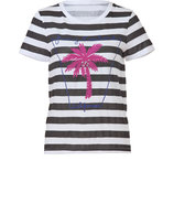 Hat/White Striped Palm Tree Boxy Top