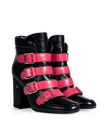 Black/Pink Leather Buckled Ankle Boots