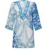 Blue/Aqua Cotton-Silk-Blend Tunic