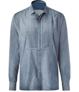 Indigo destroyed denim shirt