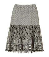 Black Printed Silk Skirt