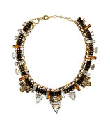Gold-Plated Xenon Necklace with Jet Black Crystals