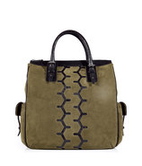Military Suede Chesterfield Bag