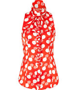 Red/Cream Printed Silk Top with Ruffle