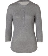 Grey Heather 3/4 Sleeve Cotton-Cashmere Henley