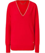 Red Ginger Lurex Trimmed Cashmere Pullover